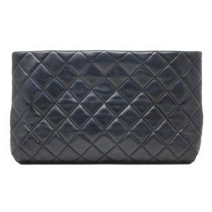 Chanel Timeless Kisslock Mini Black Leather Clutch